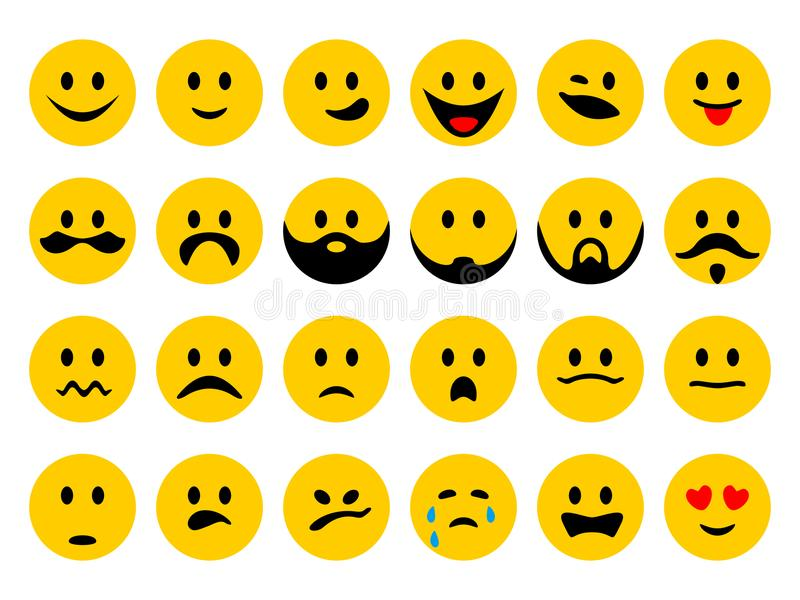 Vector Set Of Smiley Emoticons Stock Vector Illustration Of