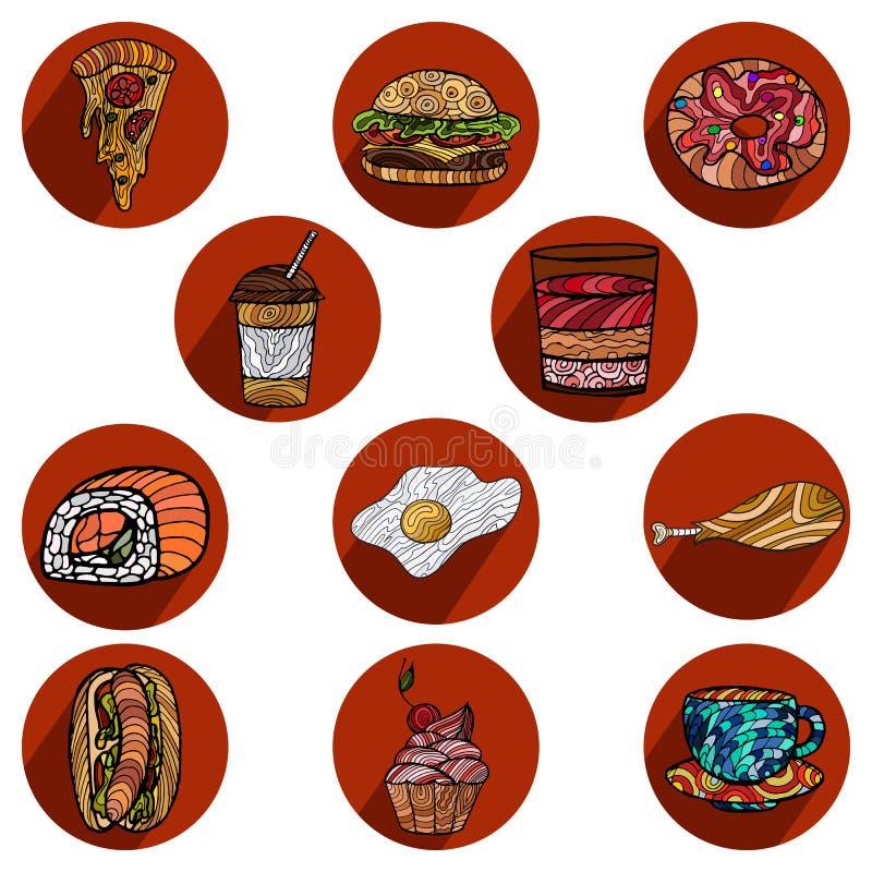 Vector set of snacks,fast food menu design for restaurants, cafe. Vector illustration of fast food. Set of snacks, menu design for restaurants, cafes vector illustration
