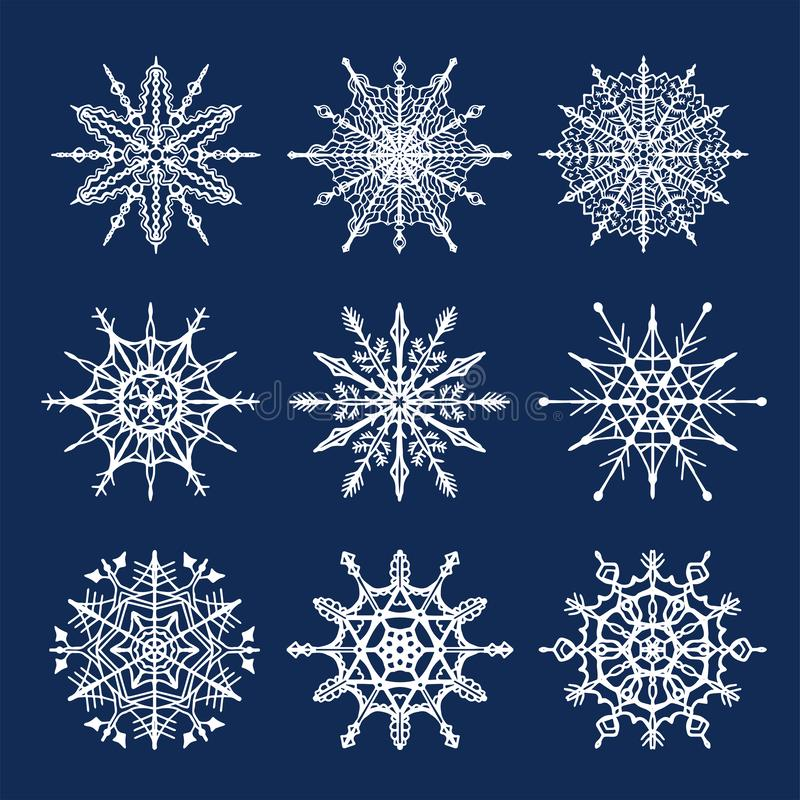 Vector set of snowflakes. Flat isolated illustration on dark blue background. stock photography