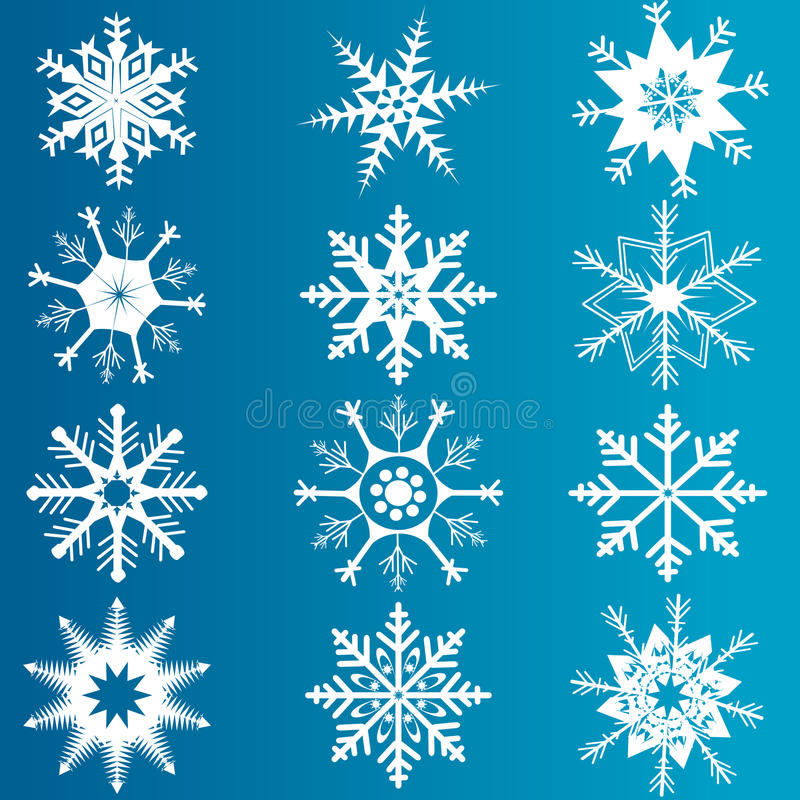 Vector set of snowflakes. Set of snowflakes over blue background stock illustration