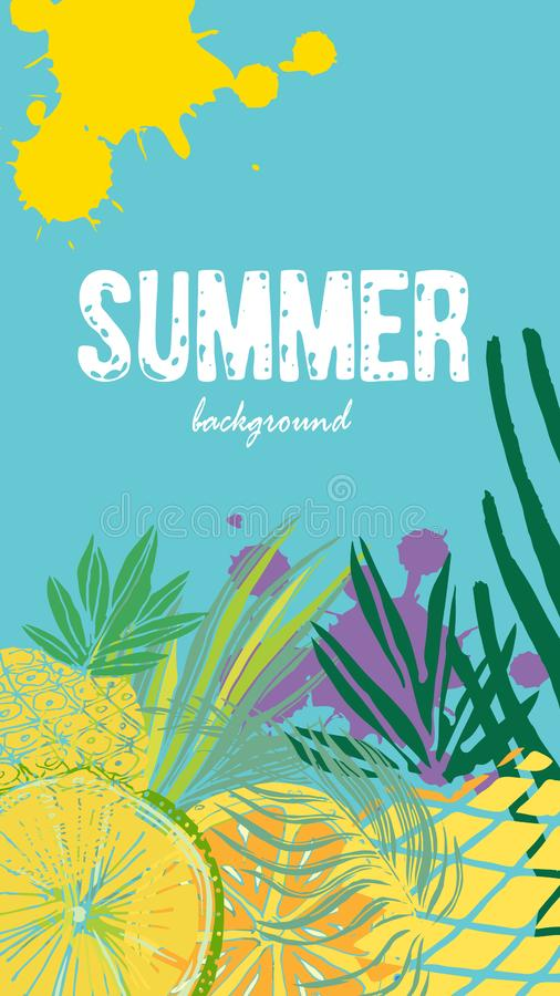 Vector set of social media stories templates. Summer bright tropical backgrounds with fruits, palms.  stock illustration