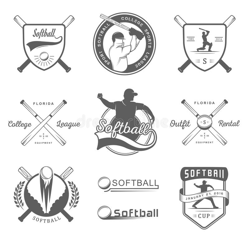 Vector Set Softball Badges and Logos. Collection sign, emblems, and symbols Softball for print, t shirt, posters and others design royalty free illustration