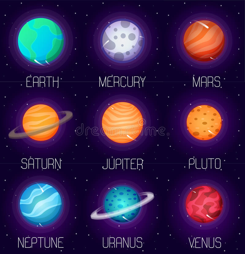 Vector set of solar system planets in cartoon style outer for Outer space planets