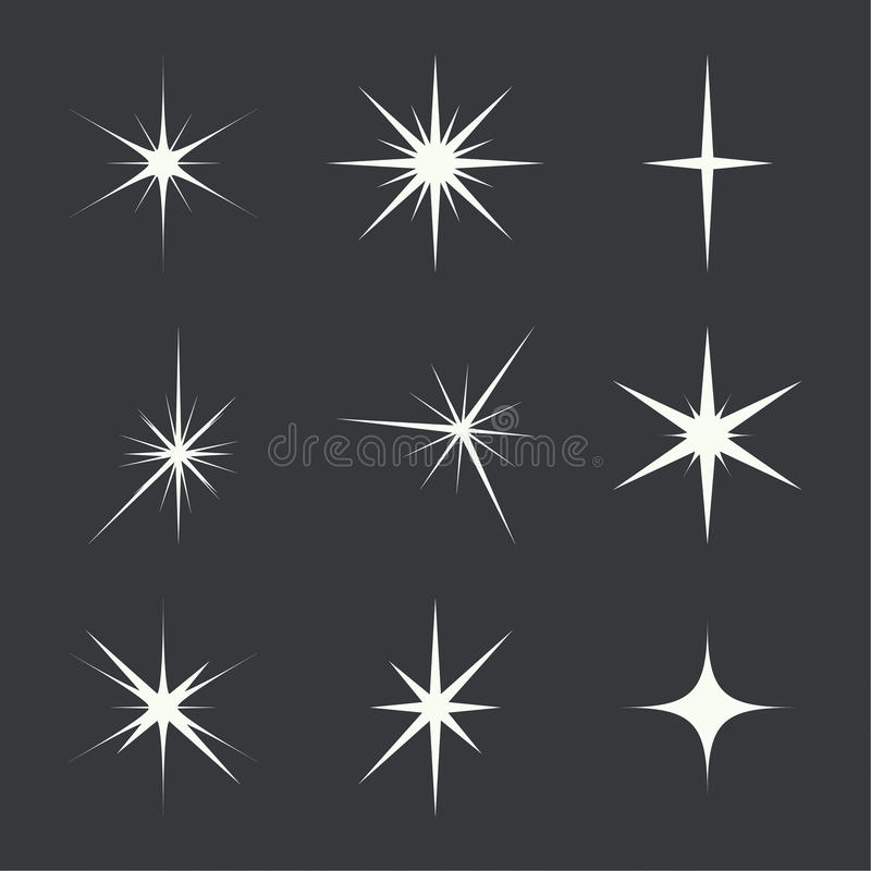 Vector set of sparkle lights stock illustration