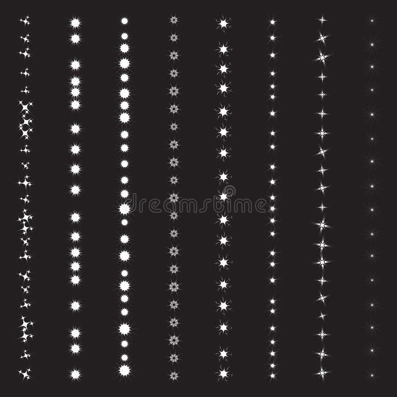 Vector set of sparkling light flares and shining stars effects. Collection set of sparkling light flares and shining stars effects vector on a black background stock illustration