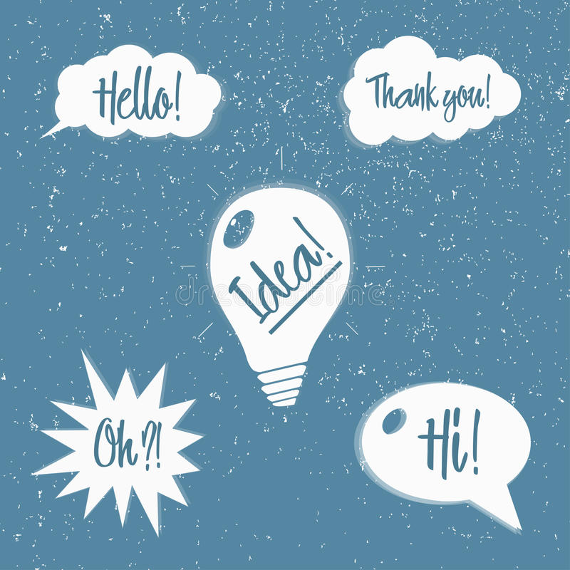 Vector set of speech bubbles with phrases stock illustration