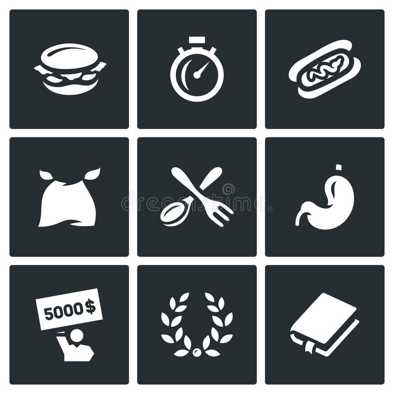 Vector Set of Speed Eating Contest Icons. Burger, Stopwatch, Burrito, Eater, Fork and Spoon, Stomach, Winner, Glory vector illustration