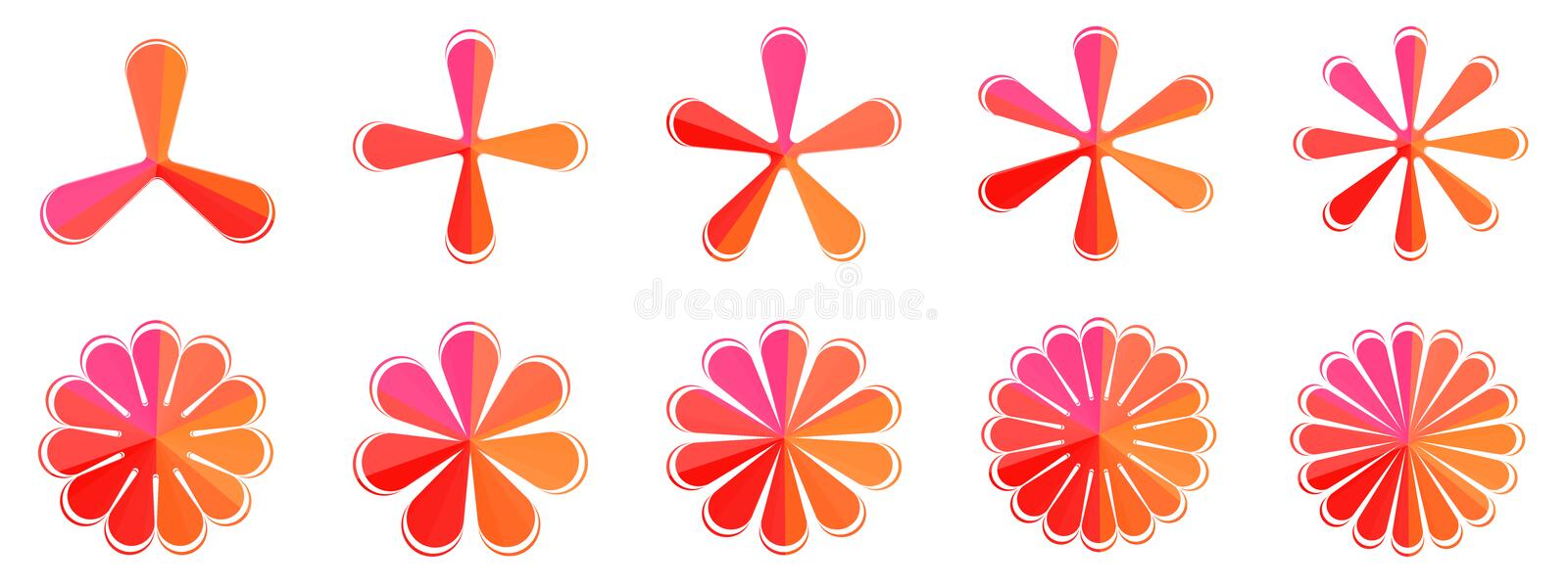 Vector Set of splash flower, star, snowflake, shape isolated icon symbol illustration, abstract background texture pattern art. Vector Set of splash flower, star stock illustration