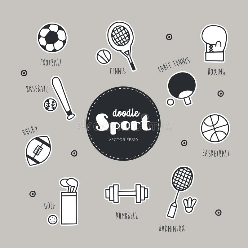 Vector set of sport icons. Doodle. Sport collection Icon stock illustration