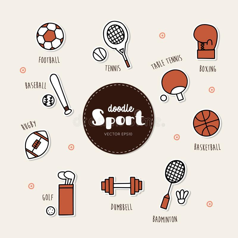 Vector set of sport icons. Doodle. Hand draw Icon vector illustration
