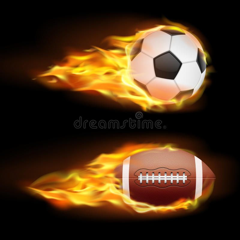 Vector set of sports burning balls, balls for soccer and American football on fire in a realistic style vector illustration