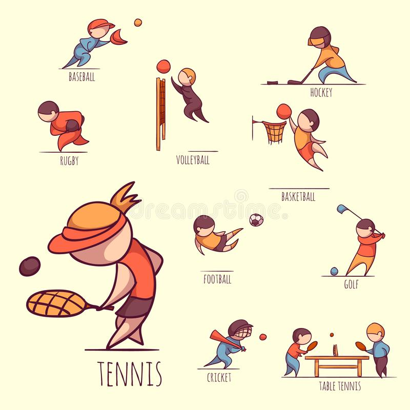 Vector set of sportsmens royalty free stock images