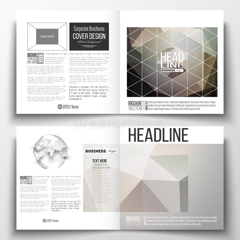 Download Vector Set Of Square Design Brochure Template Abstract Blurred Background Modern Stylish Dark