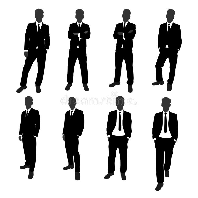 Vector set of stand businessman silhouette full body. businessman with different posing action.  royalty free illustration