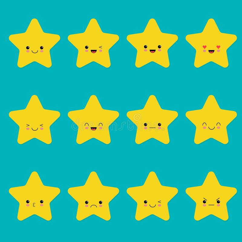 Vector set of star emoticons. Collection of yellow stars with different emotions in cartoon style on blue background vector illustration