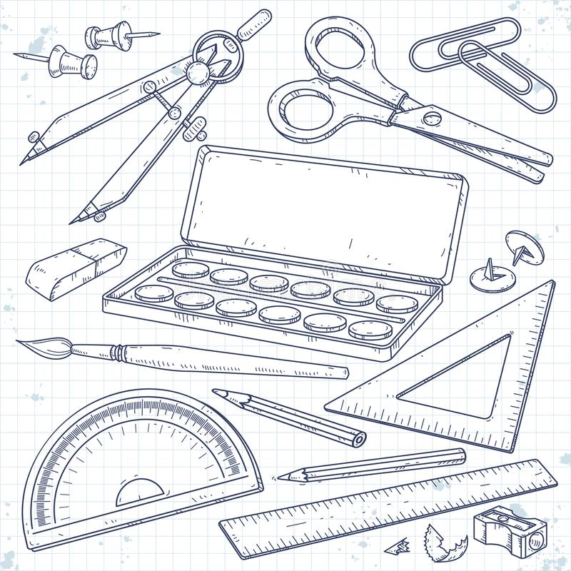Vector set stationery for school and student, paint and brush, a compass, scissors and a pencil royalty free illustration