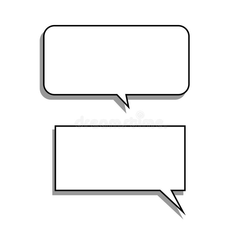 Vector set of stickers of speech bubbles. Blank empty white royalty free illustration