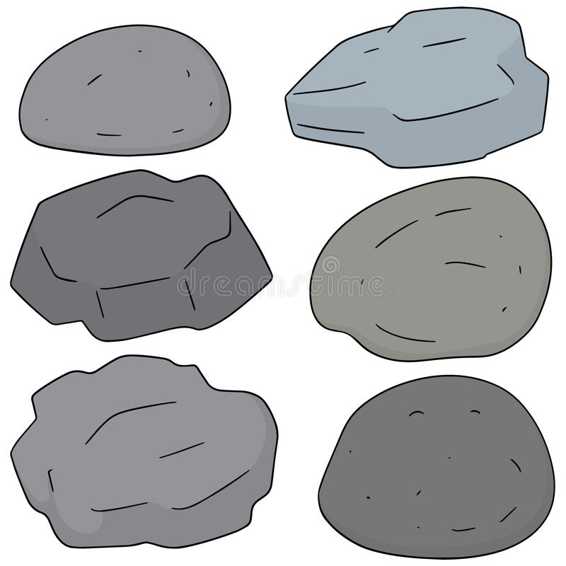 Vector set of stone. Hand drawn cartoon, doodle illustration royalty free illustration