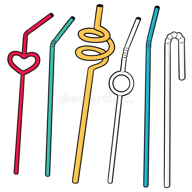 Vector set of straw. Hand drawn cartoon, doodle illustration stock illustration