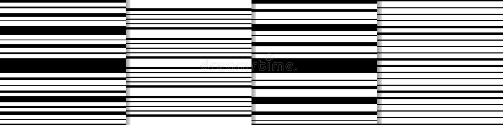 Vector set. Stripes of black color of different widths on a white background. Set seamless patterns of stripes of black color of different widths on a white stock illustration