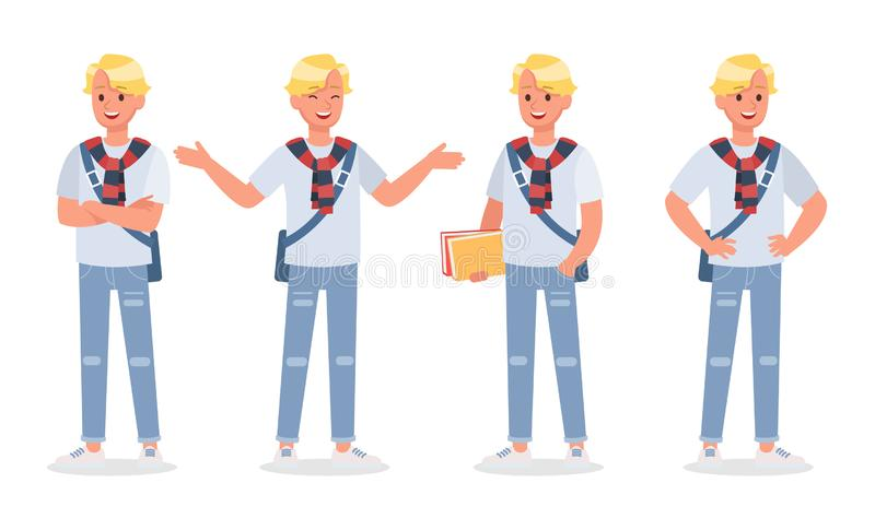 Vector set of students young man character design. Vector set of students young man character vector illustration