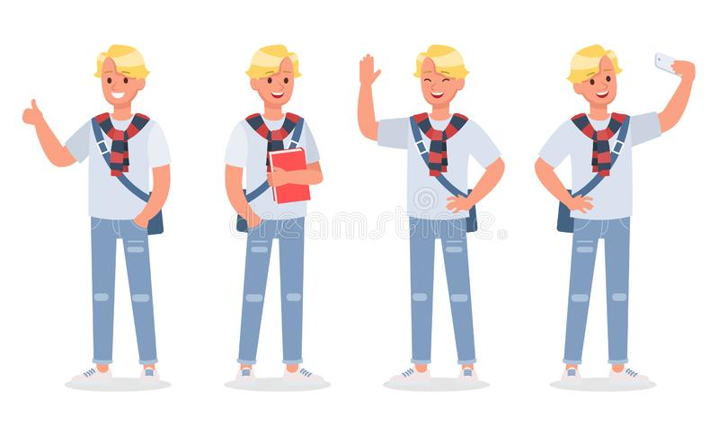 Vector set of students young man character design. no3. Vector set of students young man character design stock illustration