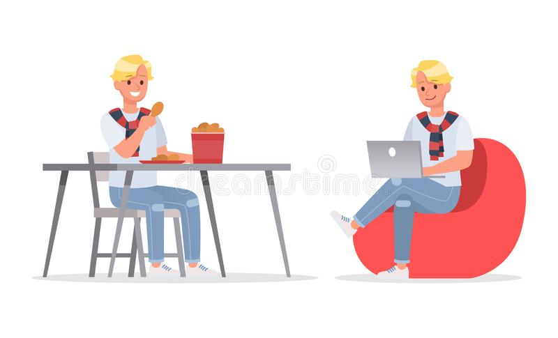 Vector set of students young man character design. no7. Vector set of students young man character design royalty free illustration