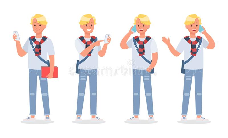 Vector set of students young man character design. no2. Vector set of students young man character design vector illustration