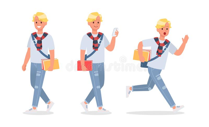 Vector set of students young man character design. no5. Vector set of students young man character design vector illustration