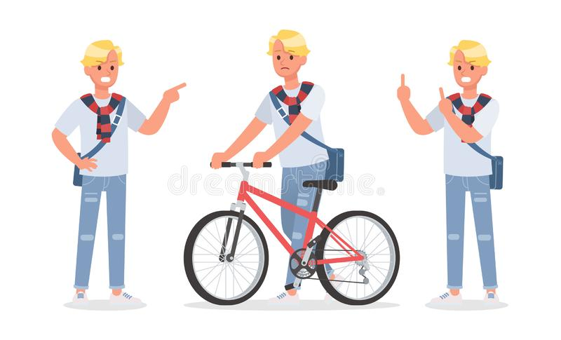 Vector set of students young man character design. no6. Vector set of students young man character design stock illustration