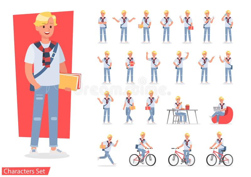 Vector set of students young man character design. no8. Vector set of students young man character design royalty free illustration