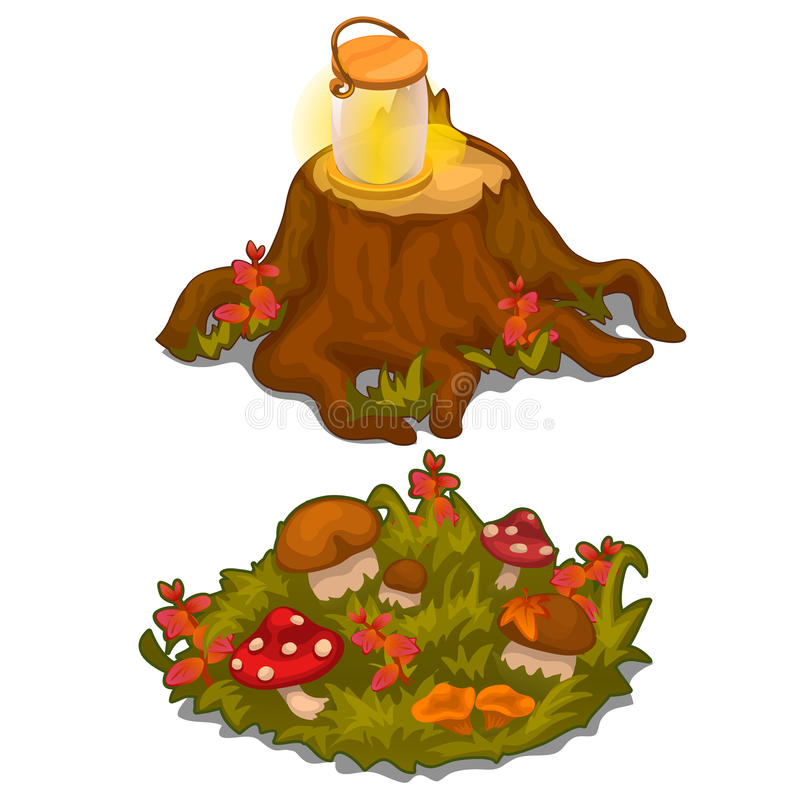 Vector set of stumps and lawns with mushrooms stock illustration