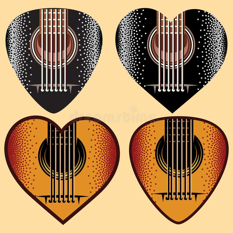 Vector set of stylish colored plectrums for guitar stock illustration
