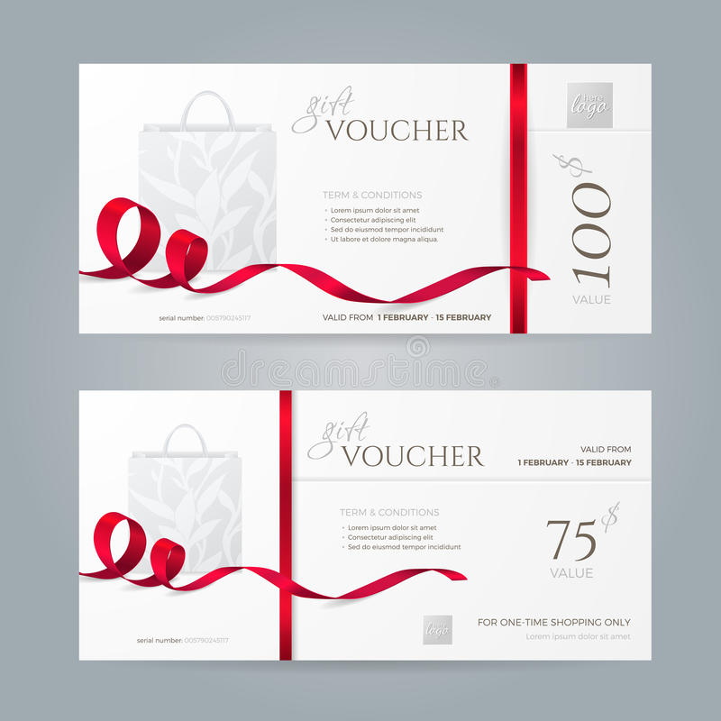 Vector set of stylish gift vouchers with red ribbons and paper shopping bag. royalty free illustration