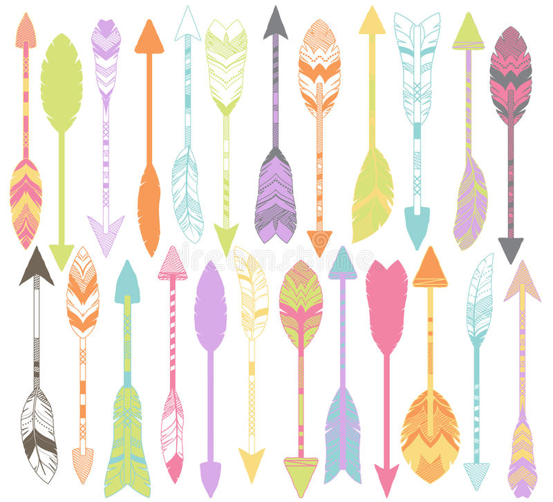 Vector Set of Stylized or Abstract Feather Arrows. And Feather Arrow Silhouettes