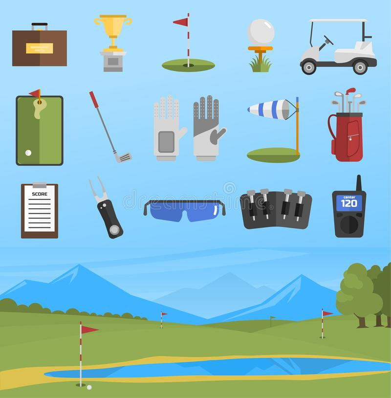 Vector set of golf icons. Vector set of stylized golf icons hobby car equipment and field. Collection cart player golf sport symbol flag hole game. Vector sign royalty free illustration