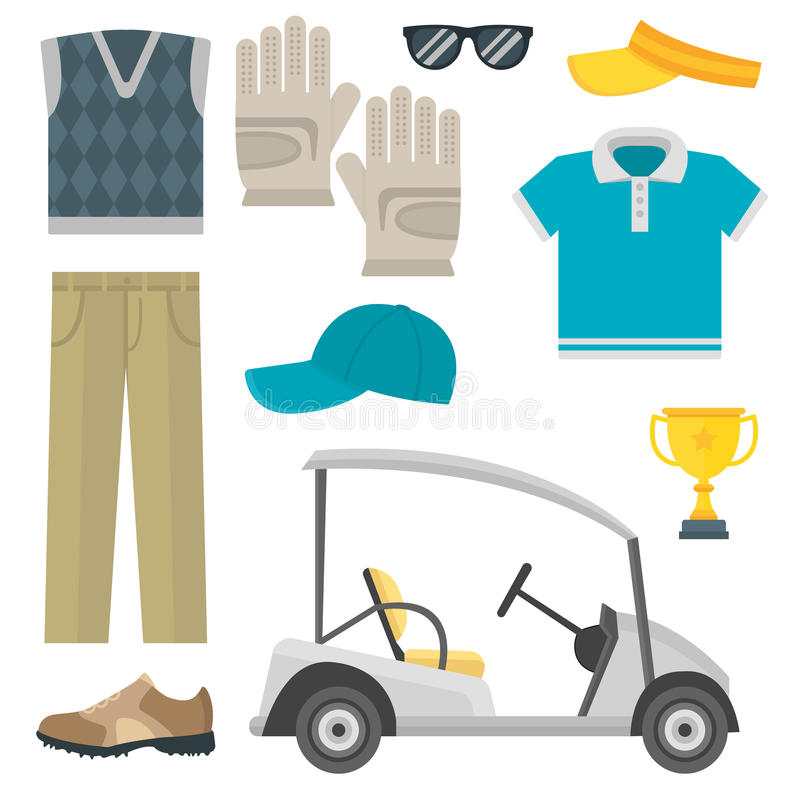 Vector set of stylized golf icons hobby equipment collection cart golfer player sport symbols. Vector set of stylized golf icons hobby play equipment. Collection vector illustration