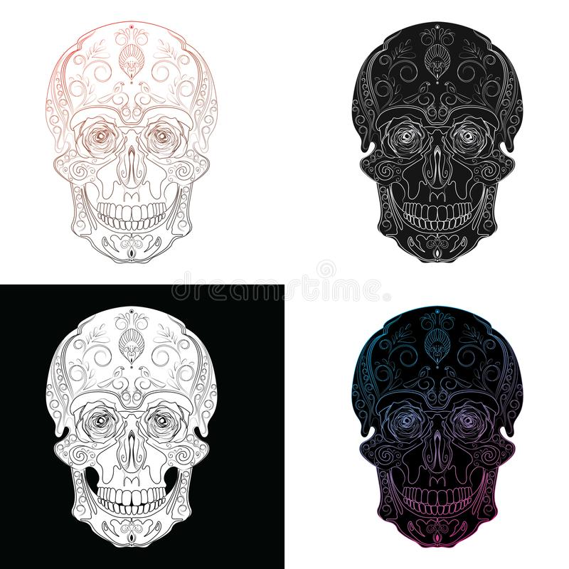 Vector set of stylized skulls. Human skull with ornaments. stock illustration