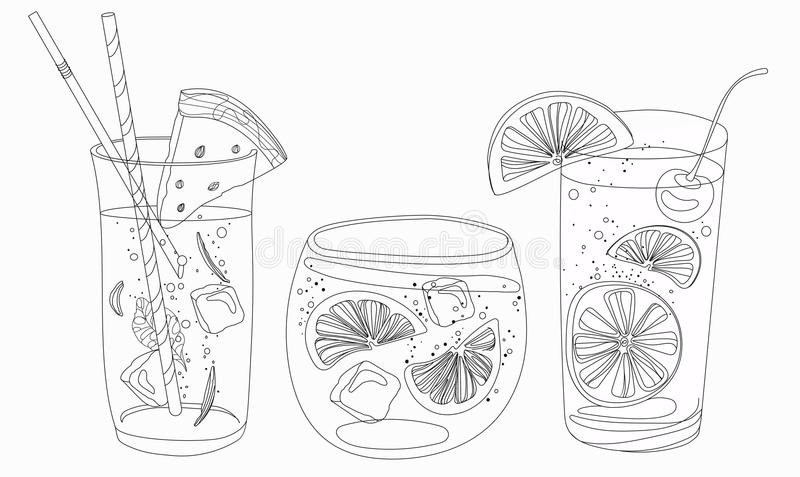 Vector set of summer cooling drinks with fruits. Collection royalty free illustration