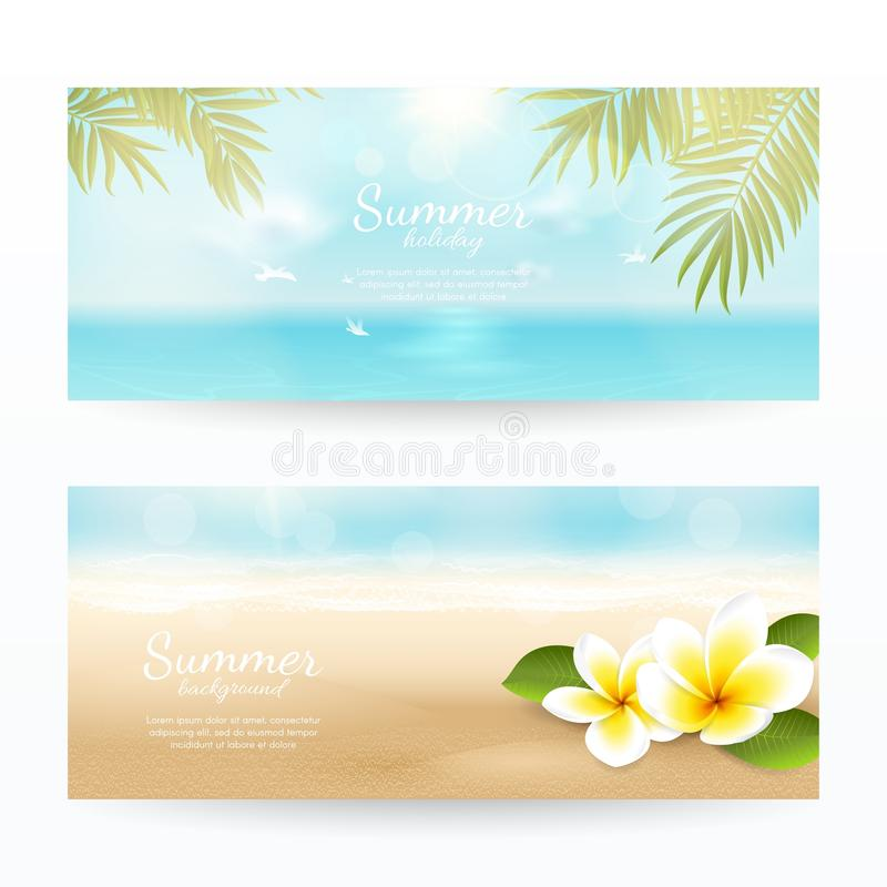 Vector set of summer horizontal banners with beach, sea, waves, palm leaves and tropical flowers. vector illustration