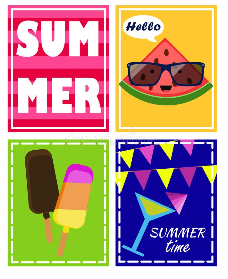 Vector set, summer posters with ice cream, text, watermelon, patty summer, cocktail stock illustration