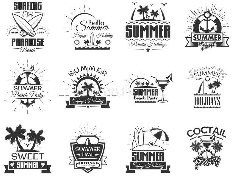 Vector set of summer season labels in vintage style. Design elements, icons, logo. Summer camp, beach holidays, tropical royalty free illustration