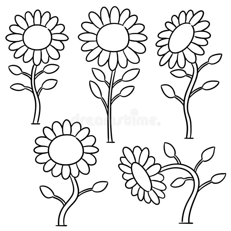 Vector set of sunflower. Hand drawn cartoon, doodle illustration royalty free illustration