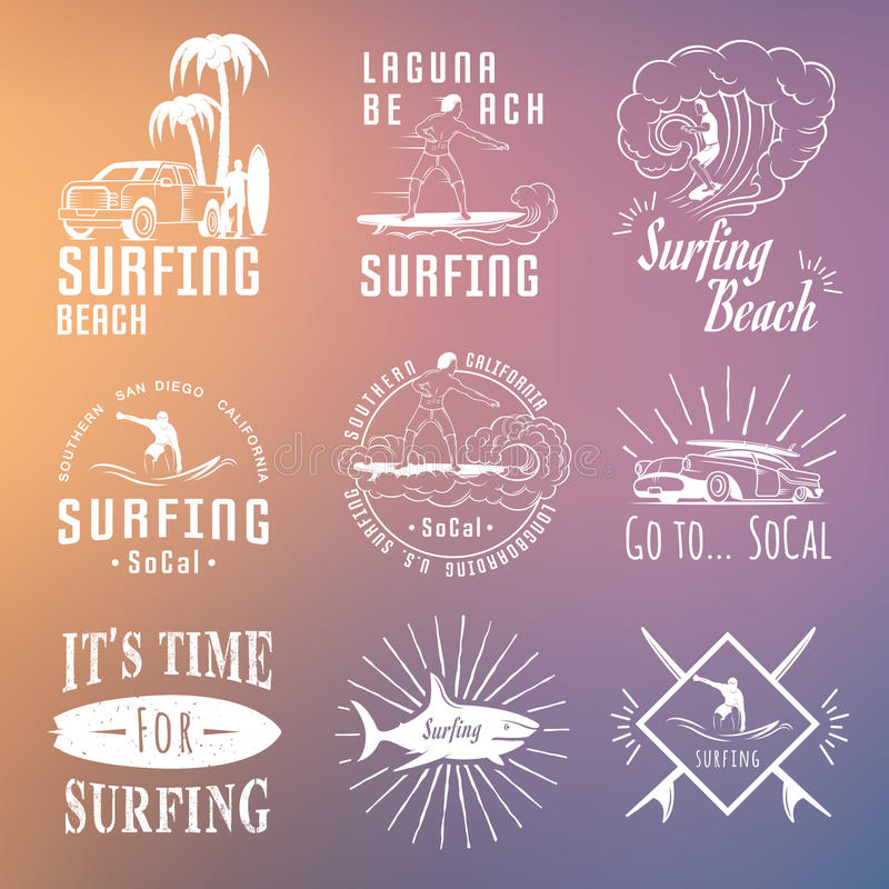 Download Vector Set Surf Badges Sign And Logos Stock Illustration
