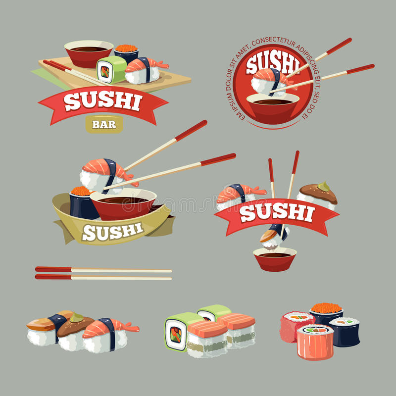 Vector set with sushi banners. Sushi icons, logo and and sushi illustrations isolate on dark background vector illustration