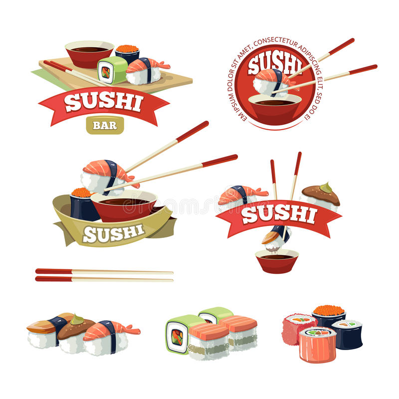 Vector set with sushi banners. Sushi icons, logo and and sushi illustrations isolate on light background vector illustration