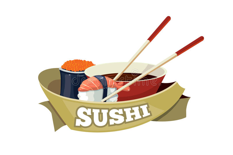 Vector set with sushi banners. Vector logo with sushi, traditional japan food. tamplate for cover or emblem design. Illustrations with place for your text royalty free illustration