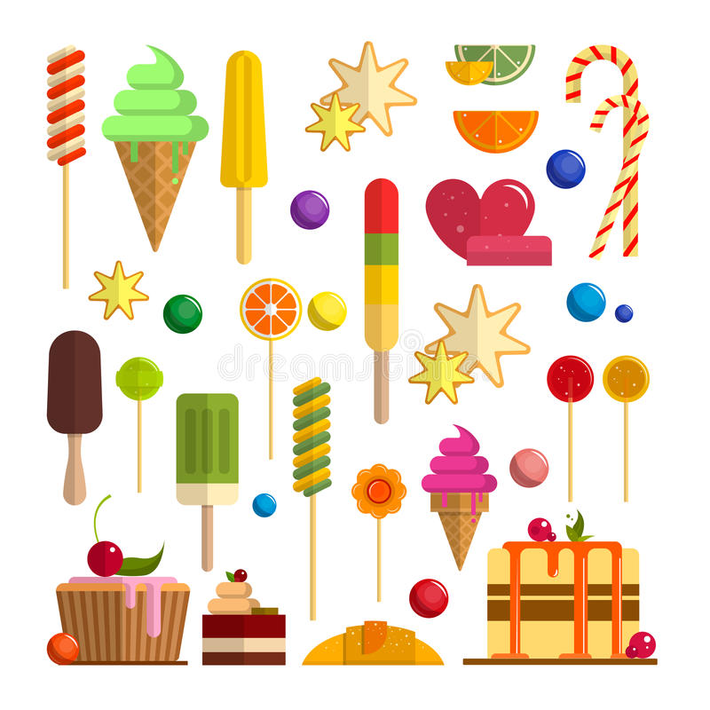 Vector set of sweet food icons in flat style. Design elements isolated on white background. Ice cream cones, candy stock illustration