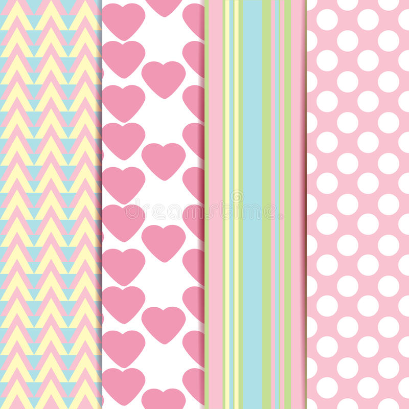 Vector set of sweet seamless patterns vector illustration