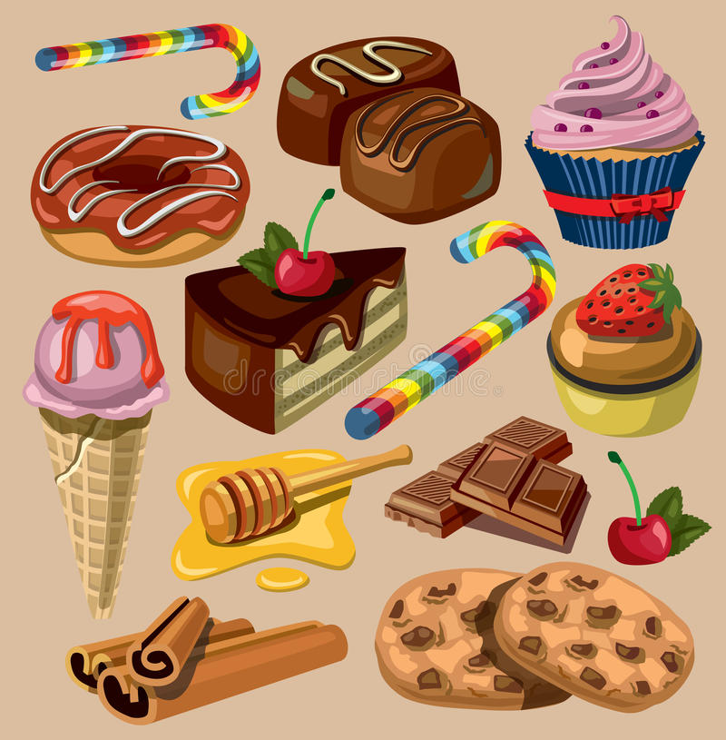 Vector set of sweets royalty free illustration